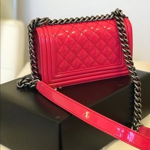 CHANEL Bags - Chanel Patent Leather Small Le boy Bag